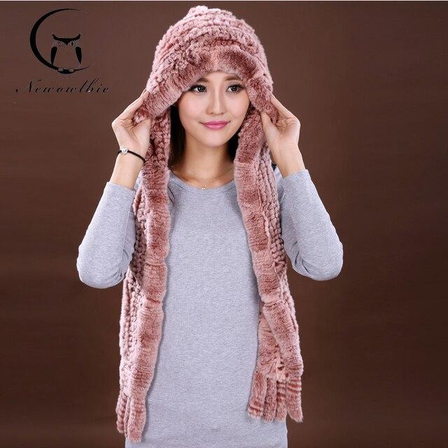 The New Autumn And Winter Warm Fur Hat Rex Rabbit Fur Hat Fashion Ear Muff Ear Warmer Scarf Cap Winter Rabbit Fur Scarves