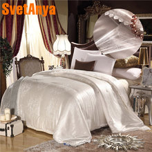 2018 Solid Leaves Silk Cotton Blend Jacquard 100% Mulberry Comforters Quilt Summer Winter Twin Queen King Size Natural