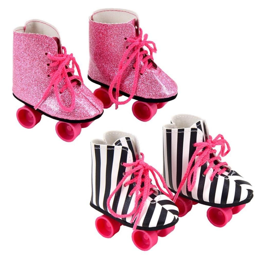 Zebra roller skates - 2 Pairs Rockin Roller Skates For 18 Inch Dolls Including Glitter Roller Skates And Zebra
