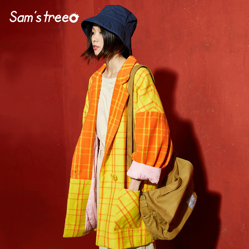 Samstree Winter Female Blends Coat Yellow Plaid Batwing Sleeve Vintage Women Coat Drop shoulder Turn down Collar in Wool amp Blends from Women 39 s Clothing