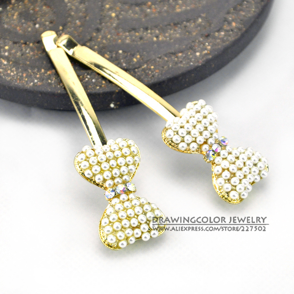 New 2013 korean sweet pearl bowknot barrette hair accessories popular girl's hairpins free shipping.