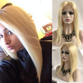 New !Colored 613 Blonde Front Lace Wig Brazilian Virgin Human Hair Nature Hairline Straight Bob 613 Blonde Full Lace Wig