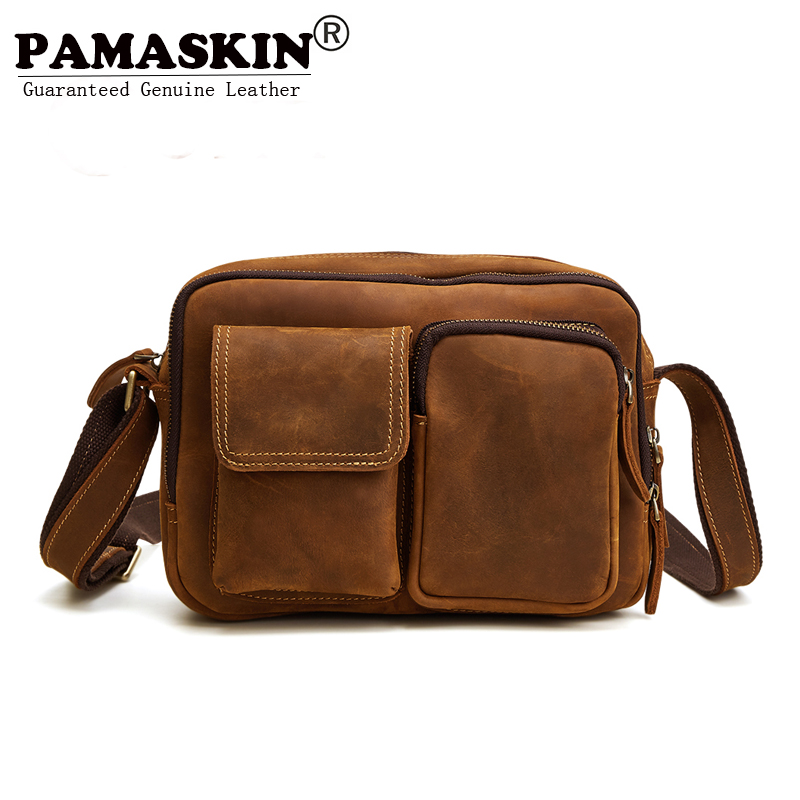 PAMASKIN Brand Men Bag Premium Genuine Leather Man Single Shoulder Bags Male Cross-body Bags 2017 New Arrivals Men Messenger Bag