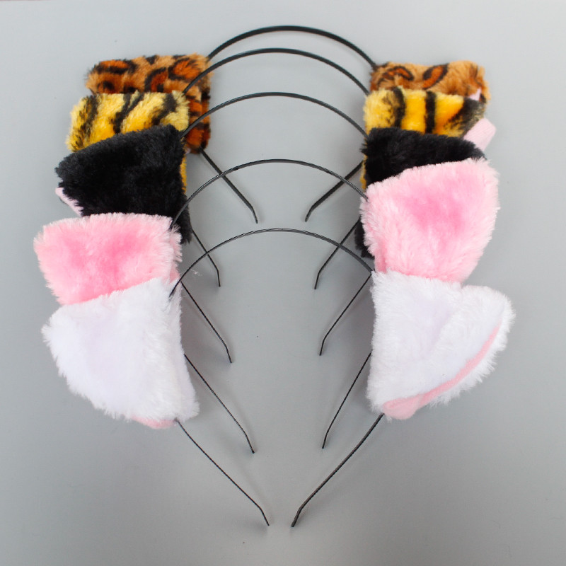 Apparel Accessories Plush Animal Cat Leopard Tiger Ears Headband Hair Clips For Women Girls Maid Anime Cosplay Hair Party Decor Halloween