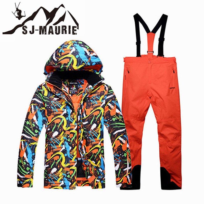 SJ-Maurie Snowboard combinaison de Ski de Neige Veste Pantalon Hommes Hiver Coupe-Vent Imperméable Jeu De Combinaison De Ski En Plein Air Camping Épais Manteau