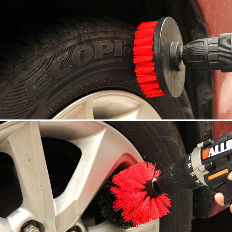 Conjunto de 3 unidades de brochas para depurador de taladro, limpieza coche Kit de limpieza de pinceles, herramienta de limpieza, cepillos y limpieza para el fregado del coche RV