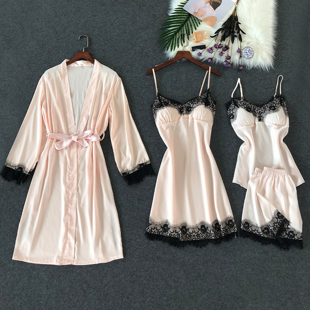 dcd643f2fd ZOOLIM 4 PCS Sexy Lace Lingerie Satin Sleepwear Pajamas Set Nightwear  Negligee Pyjama with Shorts with
