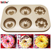 QuickDone 6 Cups Carbon Steel Doughnut Mold Nonstick Flower Muffin Tray Desserts Mould DIY Baking Pastry
