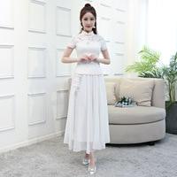 2018 white Vintage Chinese Blouse Skirt Sets Womens Short Sleeve Shirt Mandarin Collar 2pc cheongsam Clothing Summer Qipao Dress