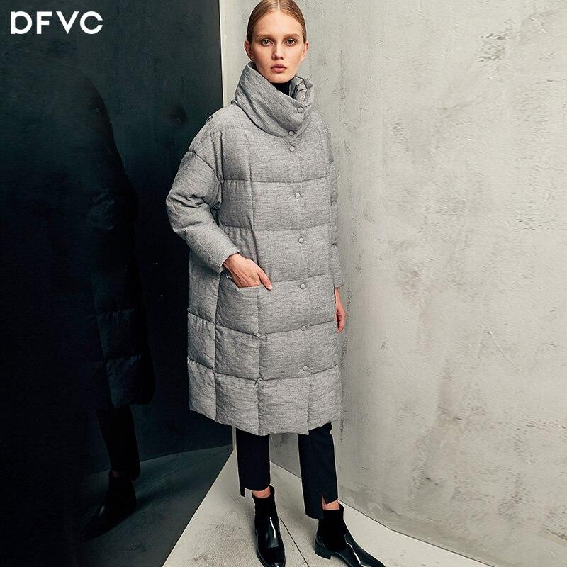 2017 hiver mode lâche cocon broderie longue doudoune femme blanc édredon chaud col roulé