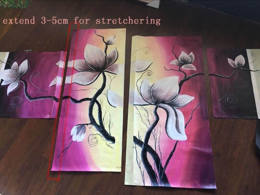 Новое поступление, абстрактный цветок, искусство, ручная работа, цветочный холст, картина маслом, 3 панели, гобелены, произведение искусства ... - 6