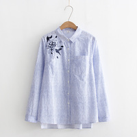 DAIQIANNI Floral Bird Embroidery Blouse Women 2018 Spring Blue Striped Shirt Women Long Sleeve Loose Cotton