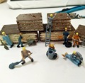 25pcs 1:87 HO scale railway model painted worker 2.2cm with ladder and tool good quality