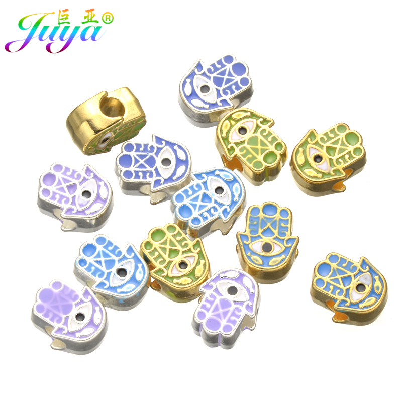 Wholesale 10pcs/lot Enamel Hamsa Hand Evil Eye Silver/Gold Pandor Metal Charm Beads For Women Men Beads Bracelets DIY Making