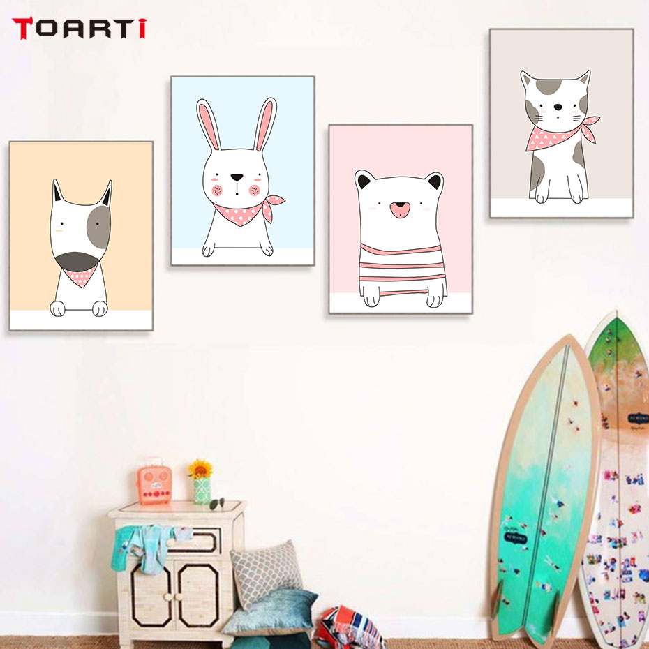 Cartoon Colorful Room: Adorable Animals Upper Body Wall Art Colorful Cartoon
