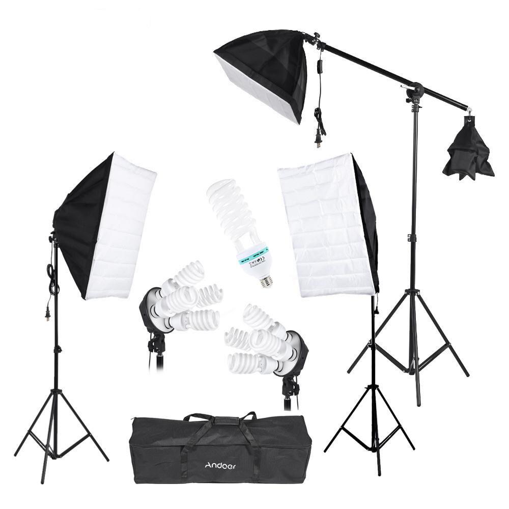 bilder für Andoer studio-beleuchtungs-kit 3 stücke softbox stativ 45 watt 135 watt birne cantilever mit oxford tasche