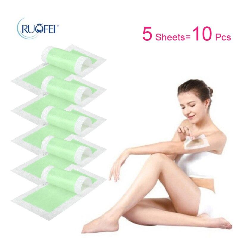 5 Sheets10 Pcs New Removal Depilatory Nonwoven Epilator Wax Strip Paper Pad Patch Waxing For Face / Legs / Bikini