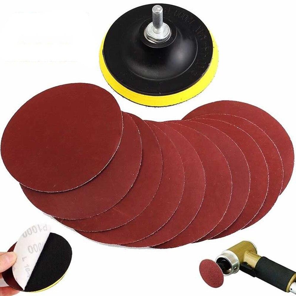 """10Pcs Sanding Disc Sander 1000 Grits 4"""" Hook Loop Sanding Backer Pad /& Shank"""