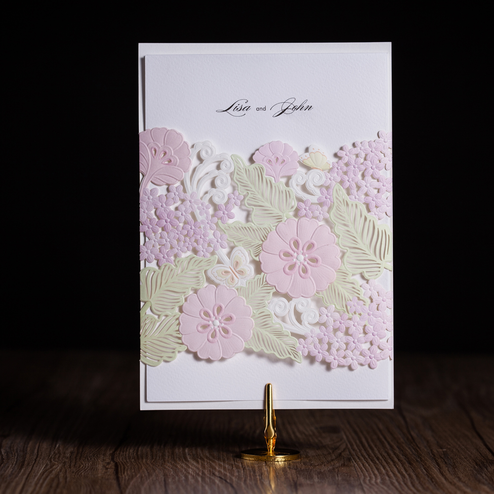 100pcs Laser Cut Wedding Invitations Cards Elegant Flora Flower Free