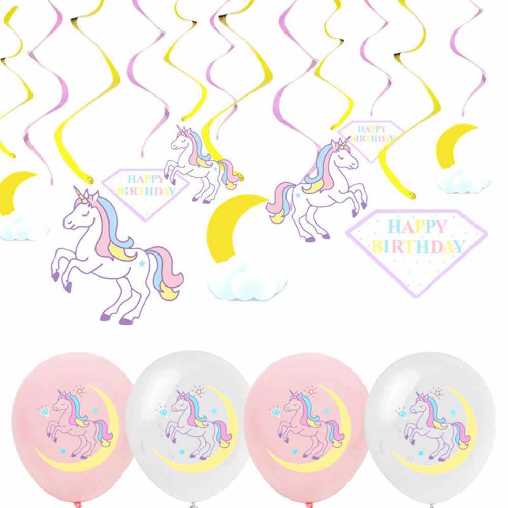 5 pcs 12 นิ้ว 18 นิ้วฟอยล์บอลลูนม้ายูนิคอร์น Latex บอลลูนวันเกิดตกแต่งเด็ก Unicorn Party Balon อุปกรณ์
