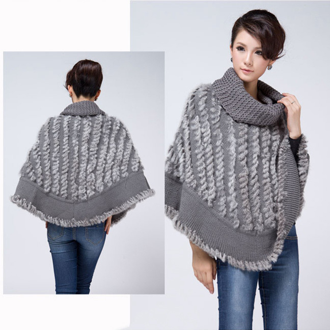 2016 Sweater poncho women genuine rabbit fur shawl knitted styles ...