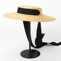 Boater Hat Summer Beach Sun Hat for Women 2018 Ladies Wheat Straw Hat with Ribbon Ties 681035