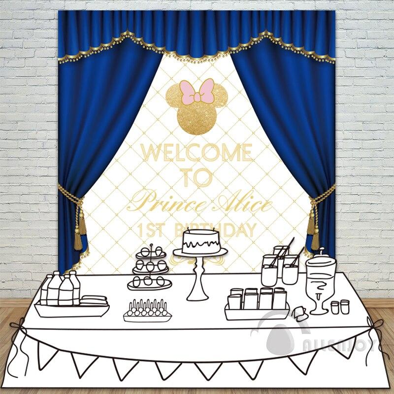 Allenjoy fille anniversaire toile de fond bébé douche 1st Invitation fête bleu rideau arc table bannière photocall fond