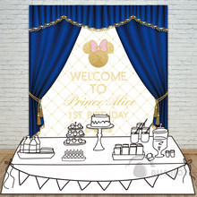 Allenjoy Girl Birthday Backdrop Baby Shower 1st Invitation Celebration Party Blue Curtain Bow Table Banner Photocall Background