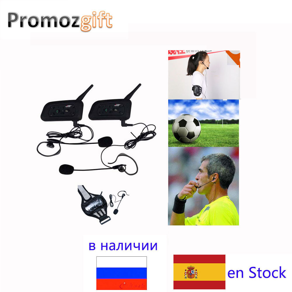 2PCS V6 1200M Intercom Full Duplex Two way Football Referee Coach Judger Arbitration Arbitro Earhook Earphone