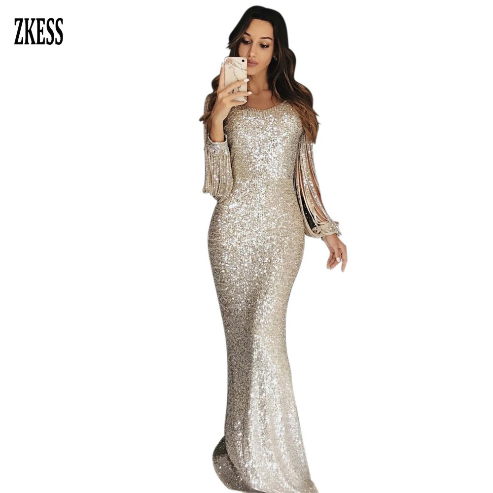 19ecf80e87aa Zkess Women Nude Sexy Sequined Bodycon Maxi Dress O Neck Long Lantern  Sleeved Tassel Party Club