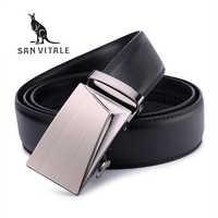 SAN VITALE bonnes ceintures pour hommes 100% vache en cuir véritable hommes ceinture mâle automatique alliage boucle sangles Cinturones Hombre Original