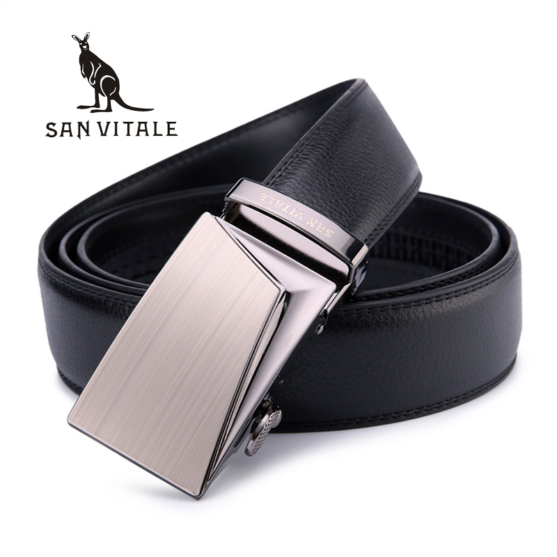 SAN VITALE Good   Belts   for Men 100% Cow Genuine Leather Mens   Belt   Male Automatic Alloy Buckle Straps Cinturones Hombre Original
