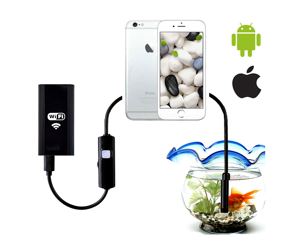 Wistino Wifi Endoscope Camera 8mm HD 720P Waterproof Camera Android iPhone Wi-fi Endoscope Pipe Tube Soft Cable Surveillance