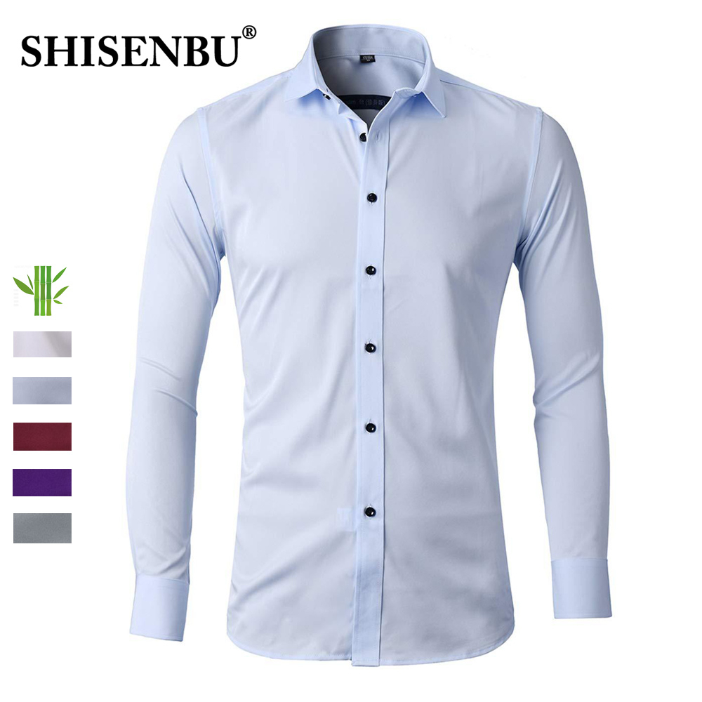 Men's Bamboo Fiber Dress Shirt Slim Fit Casual Elastic High Quality White Formal Shirts For Business Men Long Sleeve Cotton New