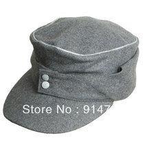 WWII GERMAN WH EM OFFICER M43 PANZER WOOL FIELD CAP GREY IN SIZES 33865