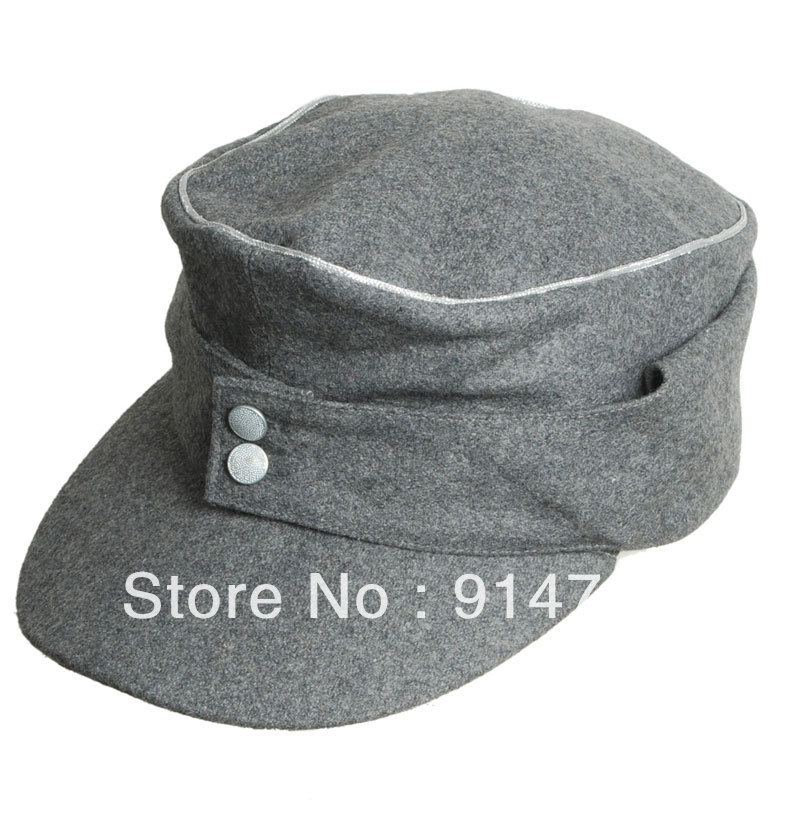 WWII GERMAN WH EM OFFICER M43 PANZER WOOL FIELD CAP GREY IN SIZES-33865
