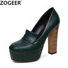 Otoño primavera Vintage zapatos de tacón alto Mujer Sexy zapatos de plataforma Zapatos negro verde tacones OL señoras fiesta Oficina zapatos