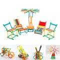 450 pcs puzzle Brinquedo Blocos de Construção de Brinquedos Montados Crianças Brinquedos Educativos de Plástico Blocos de Construção Vara Inteligente