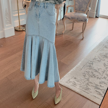 Free Shipping 2019 New Fashion Long Mid-calf Denim Jeans Skirts For Women S-L Mermaid Style High Waist Fish Tail Skirts Summer free shipping 2020 new fashion wool elegant long mid calf women skirts pencil s xl high waist autumn and winter striped skirts