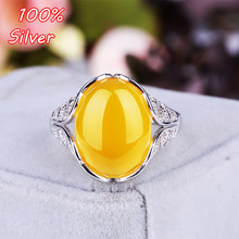 Sterling Silver 925 White Gold 12*16mm 11x15mm Cabochon Rings for Amber Opal Agate Turquoise Fine Jewelry Wholesale(China)