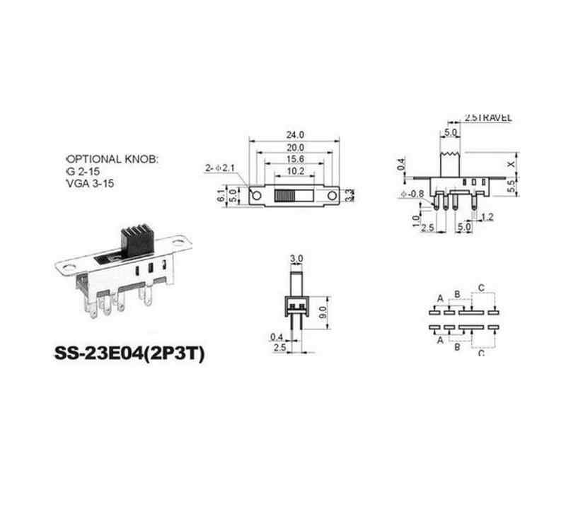 10pcs ss23e04 double toggle switch 8 pins 3 files 2p3t dp3t handle high  5mm small slide