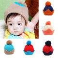 Дети новорожденных девочек мальчиков вязать шерстяные мяч корона шляпы шапочка шапки зимние шапки