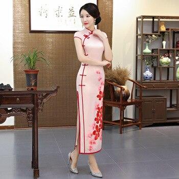Vestido Cheongsam largo de verano 2018 a la moda de estilo chino para mujer, vestidos de fiesta delgados de rayón Qipao para mujer, Vestido de talla grande S-4XL