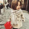 Belababy Girls Trench Coat Winter Kids Long Sleeve Button Polka Parka Belt Jacket Children Bowknot Autumn Outwear For Girls