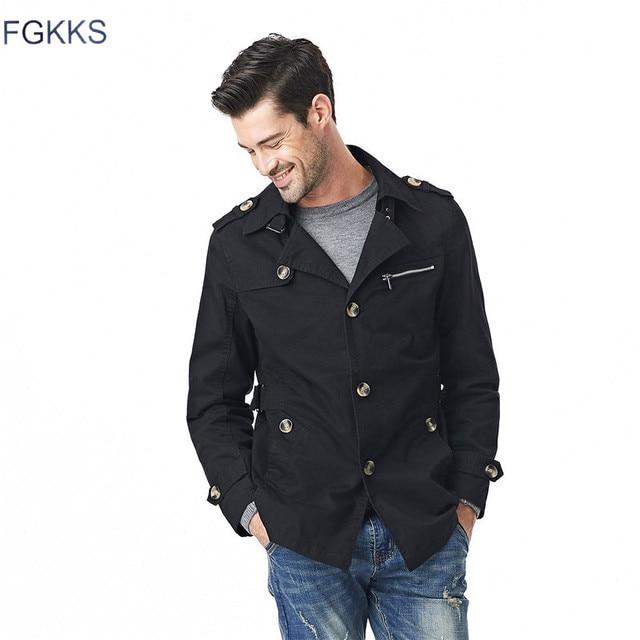 f69f41862d2 FGKKS Men Jacket Coat Long Section Fashion Trench Coat Jaqueta Male Veste  Homme Brand Casual Fit Overcoat Jacket Outerwear