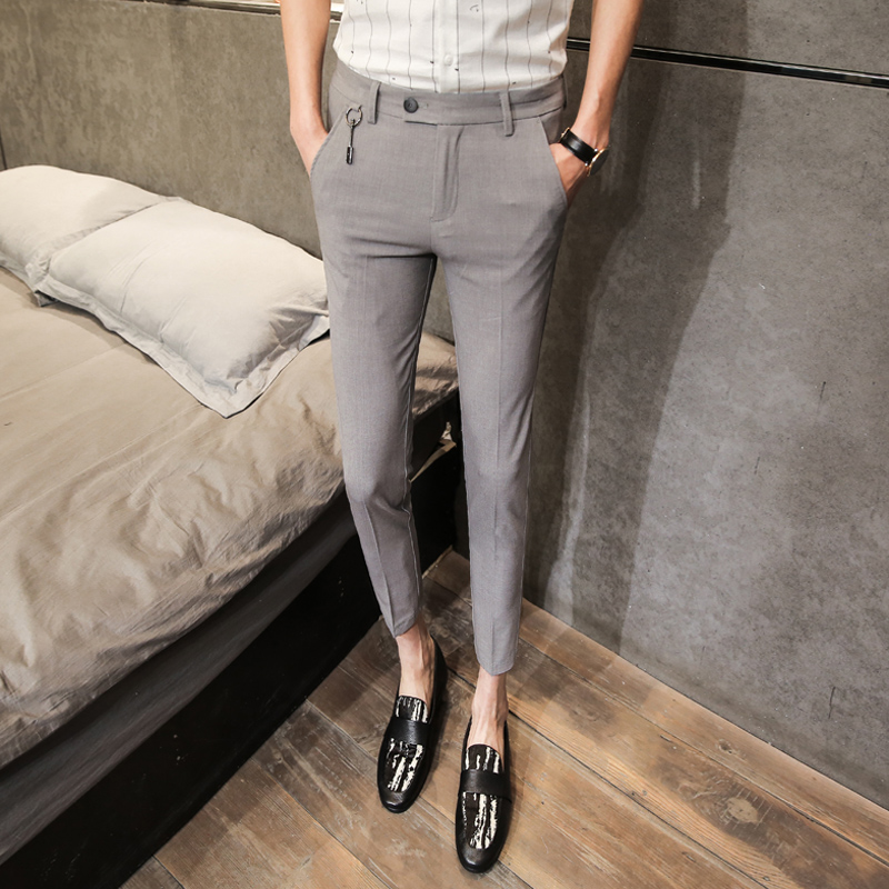 2018 spring and summer new British tide mens Slim striped wild casual nine points hair stylist Korean trousers