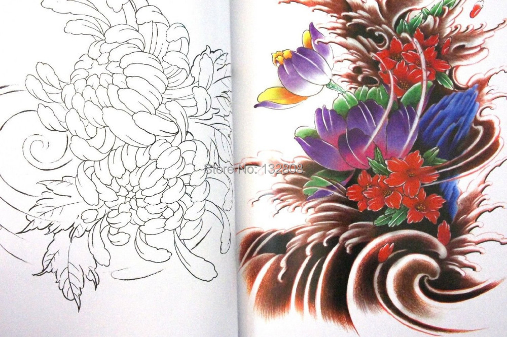 Us 1899 Rare Japanese Flower Tattoo Flash Book Lotus Cherry Blossoms W Line Work Tattoo Flash Sketch Reference Book Free Shipping In Tattoo