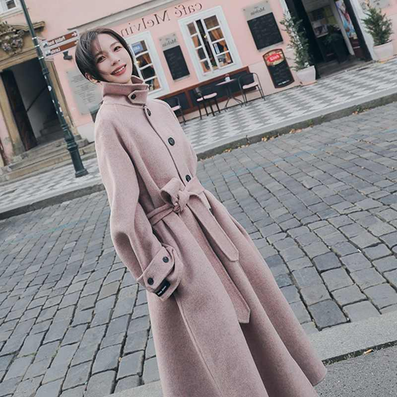 Woolen Coat Female 2019 Autumn Winter New Fashion Light Pink Women Loose Large Size Long Wool Coat Casaco Feminino