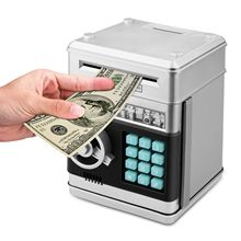 Cartoon Electronic ATM Password Piggy Bank Cash Coin Can Auto Scroll Paper Money Saving Box Gift For Kids (silvery+black)