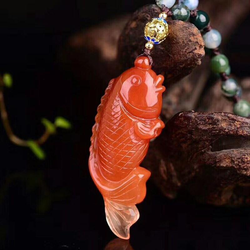 Haut de gamme Fine JoursNeige rouge naturel cristal pendentifs Fine Caved bénédiction poisson pendentif collier riche pour les femmes cadeau bijoux - 4